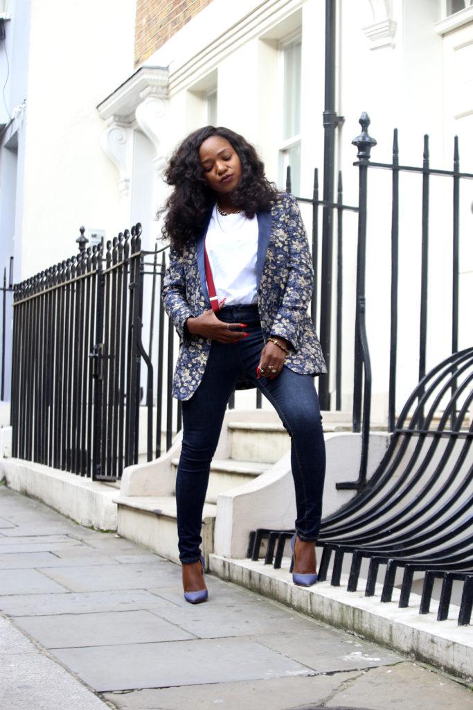 Jacquard blazer and denim styling