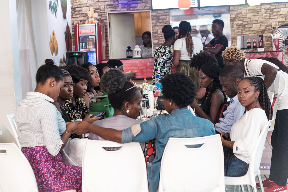 A GROUP OF BLOGGERS DISCUSSING AT AN EVENT IN LAGOS NIGERIA
