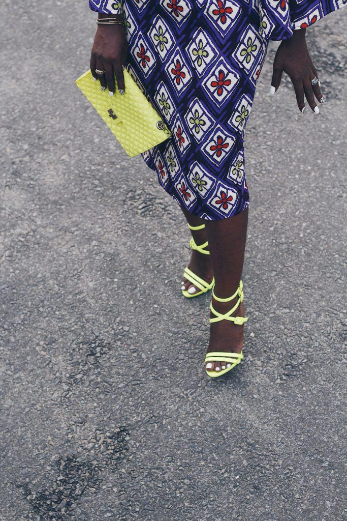 neon giuseppe canotti strap sandal and neon purse