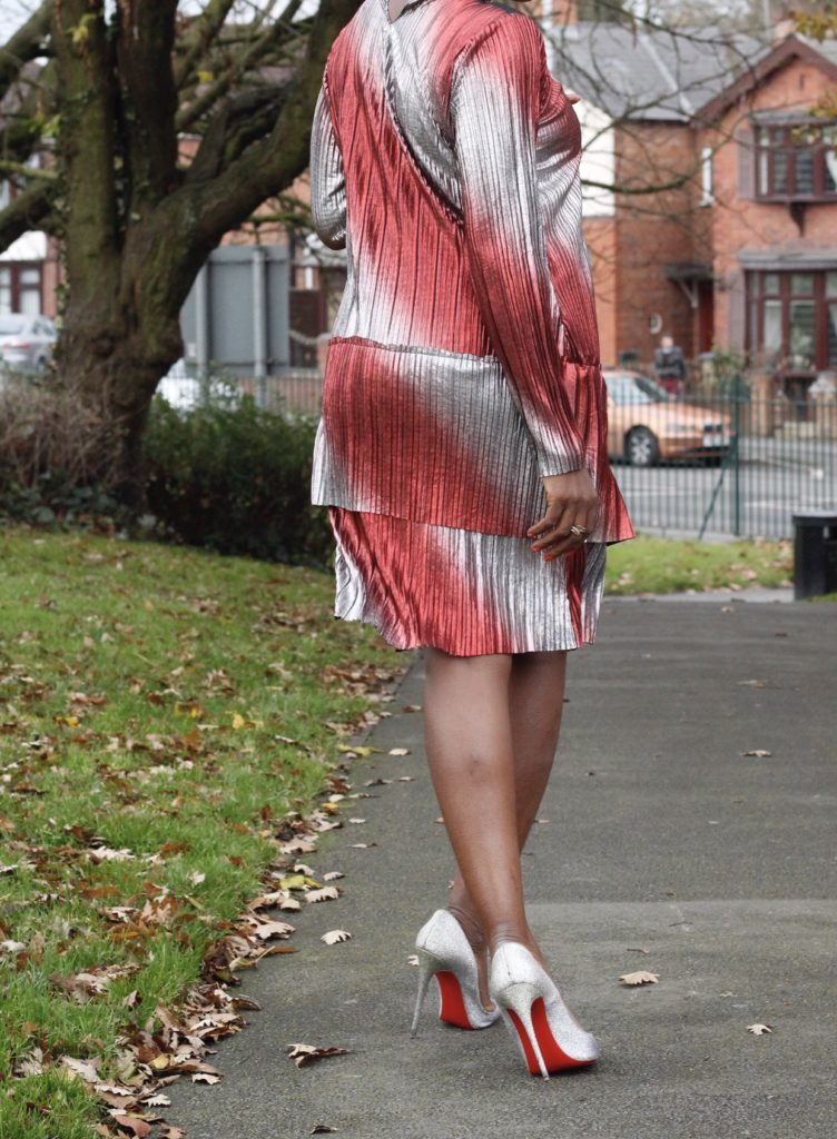 strutting ,christmas style ,red and silver foil dress ,shift dress ,desire1709 ,so kate glitter ,christian louboutin shoes ,christmas style ,what to wear