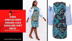 ZUMA AFRICAN PRINT ANKARA COLD SHOULDER SHIFT DRESS